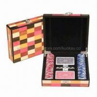 China 100pcs of 11.5g Poker Chips Case with 2 Deck of Playing Cards and 5 Dices on sale