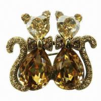 Wholesale Shiny Metal Brooch, Decorated with Large Glass Stones from china suppliers