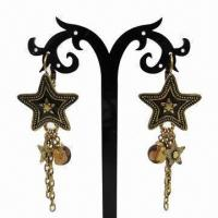Wholesale Fashionable Drop Earrings, Star-shaped Pendant, with Metal Chain Decoration from china suppliers