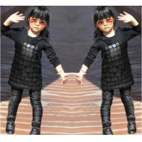 Wholesale Knit Black Winter Party Dresses For Girls , 7 To 8 Years Girl Dress Pu Leather Front from china suppliers