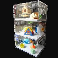 Wholesale acryl hamster cage,New style clear square household 3 steps acrylic hamster cage for sale with available price from china suppliers