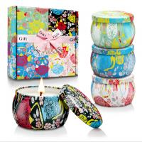 Wholesale Custom Retro Patterns Travel Metal Jar Scented Candle Tin Candle Gift Sets from china suppliers