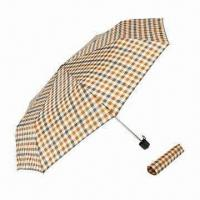 Buy cheap Super Mini 3 Fold Manual Open Umbrella with Check Printed, Suitable for Men, from wholesalers