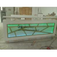 Wholesale Customized Millwork Reception counters in white wood structure inlay Acrylic panel with Variable color LED light from china suppliers