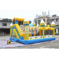 Quality Outdoor Kids Minions Inflatable Bouncy Castle With Slide 0.55MM PVC Tarpaulin for sale