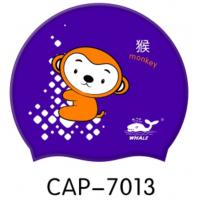 Wholesale Purple Silicone Waterproof Swimming Cap for Kids , Monkey Printed from china suppliers