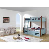 Wholesale Sky blue painting bunk bed for children bedroom in solid wood frame and MDF plate with storage drawers in apartment furn from china suppliers