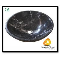 China Xiamen Kungfu Stone Ltd supply Marquina Round Marble Sink For Indoor Kitchen,Bathroom for sale