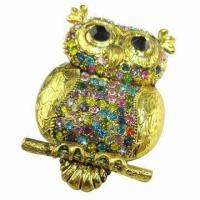 Wholesale Owl-shaped Metal Brooch, Decorated with Shiny Rhinestones from china suppliers