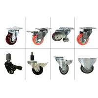 Wholesale Red Stem Caster Wheel Black Bracket Castor Swivel PU Caster Adapter With Brake from china suppliers