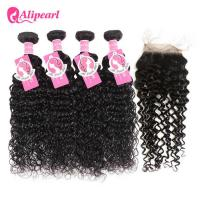 Wholesale Natural Wave Human Brazilian Curly Hair 4 Bundles With Lace Closure 4×4 from china suppliers