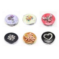 China Beautiful Women's Metal Anniversary Gifts Travel Cosmetic Mirror With Enamel Filling for sale