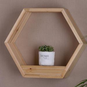 China Floating Shelf Hexagon Honeycomb Wall Mounted Shelves Decorative Hanging Wood Shelf Display for Plant Holder on sale
