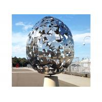 China Egg Hollow Shape Stainless Steel Sculpture , Metal Ball Sculpture Corrosion Stability for sale
