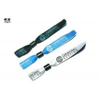 Silver Woven Custom Fabric Wristbands With Embroidery Design Logo for sale