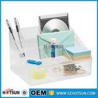 Wholesale office clear acrylic desk organizer 2 tier 3 tier acrylic pen tray multi compartment from china suppliers
