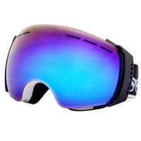 Quality Adult Blue PC Lens Reflective Snowboard Goggles for Youth , Tri - density Face for sale