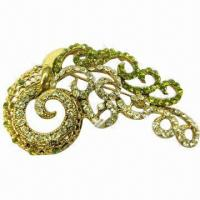 Wholesale Metal Brooch, Decorated with Shiny Rhinestones from china suppliers