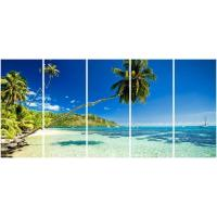 Wholesale 5 panel panoramic canvas prints with palm seascape from china suppliers