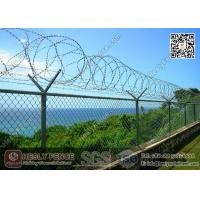 Wholesale Galvanised Chain Link Fence with 50mm diamond hole and Y post with concertina razor wire from china suppliers
