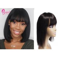 China 260 Gram Remy Lace Front Wigs , Black Bob Wig Natural Hair Color Extensions on sale