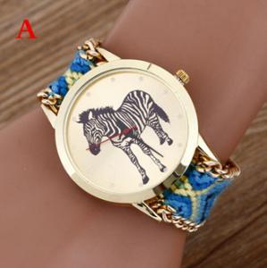 Buy cheap Brand Handmade Braided Zebra Friendship Bracelet Watch Rope Geneva Watch Quartz Wristwatch Ladies relogio from wholesalers