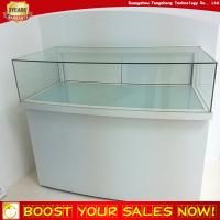 Wholesale Tabletop Lockable Led Light Curved Glass Wooden Jewelry Display Case Counter from china suppliers