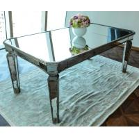 China Glass Mirrored Dining Table Luxury Design Strong Wood Legs 76cm Height on sale