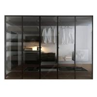 Wholesale Italian Style Glass Door Small Wardrobe With Drawers , Modern Freestanding Wardrobe Closet from china suppliers