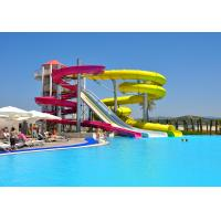 China Spiral Combination Commercial Water Slides Red / Yellow Arc Path Designing on sale