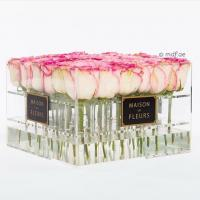 Wholesale Crystal Clear Acrylic Box with Lavender/red/pink Roses ,glowing flowers rose thick acrylic box with lid from china suppliers