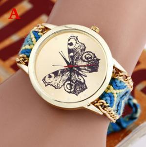 Buy cheap Brand Handmade Braided Butterfly Bracelet Watch Rope Geneva Watch Quartz from wholesalers