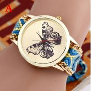 Buy cheap Brand Handmade Braided Butterfly Bracelet Watch Rope Geneva Watch Quartz Wristwatch Ladies relogio from wholesalers