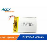 Wholesale 353040pl rechargeable 353040 3.7v 400mah lithium polymer battery for MP3 player, MP4 player from china suppliers