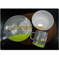 Grey Decal On Glaze 3 Piece Coupe Dinner Set For Children With Coffee Mug Easy For Storage for sale