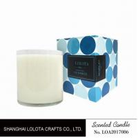 Wholesale Scented white bottle soy wax candle with blue color folding box from china suppliers