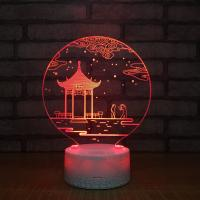 China new special gift item  Crackle base 3D acrylic led small night light, small led table lamp  with 7 colors on sale