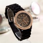 2015 luxury Fashion Goods Lady Rose Gold Diamond Quartz Silicone Jelly Watches Geneva watch Wholesale