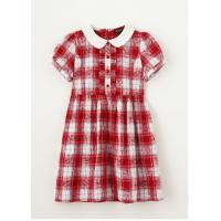 China 1-6year grils summer red print Shirt skirt check pattern printed dress on sale