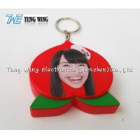 Quality OEM Funny Red Peach Shaped Musical Keyring , Custom Talking Keychain for sale