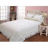 Wholesale Microfiber Embroidery Double Bed Quilt Covers , Plain Color Design Quilted Bed Covers from china suppliers