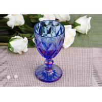 Wholesale Antique colored glass candle holders Iridescent Blue Stemware Embossed from china suppliers