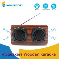 Wholesale 2019 year 4 speakers 2 diaphragms hifi portable wooden bluetooth speaker FM radio Wireless microphone megaphone from china suppliers