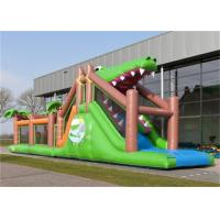 Wholesale Lovely Green Shark Blow Up Obstacle Course For Kids Giant Inflatable Games from china suppliers