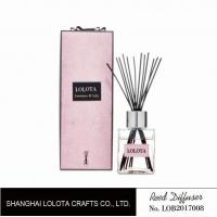 Wholesale silver cap square bottle reed diffuser with ribbon pink folding box from china suppliers