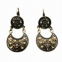 Wholesale Antique Drop Earrings, Flower Embossment with Moon-shape Pendant from china suppliers