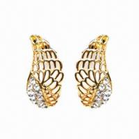 Wholesale Rhinestone Stud Earrings in Half-wing Design, Golden Plating from china suppliers