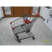 Wholesale Grey powder coating 80L Supermarket Shopping Trolley shopping cart  With 4inch PU casters from china suppliers