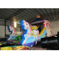 China Inflatable pink The carriage princess standard slide disney pink inflatable princess castle carriage slide for sale