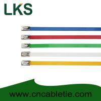 Wholesale 4.6*300mm 201,304,316 grade epoxy polyester coated Ball-lock stainless steel cable ties from china suppliers